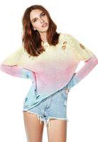 Women Fashion autumn Gradient sweater pullovers novidades vestidos sweter hollow plus size Free shipping
