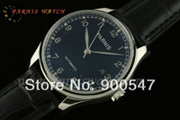 2014 New Brand 43mm Parnis Portuguese Black Dial Silver No. Automatic Leather Men's Watch