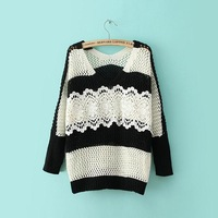 Free shipping Women 2014 new fall color block V-neck lace patchwork stitching sweater knitwear