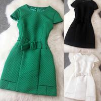 Brand New Fashion 2014 Autumn Women Slim Jacquard Slim Short-sleeved Dress Ladies Elegant Party Casual Vestidos T2096