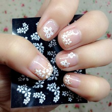 30 Sheets Floral Design 3D Nail Art Stickers Decals Manicure Decoration Beautiful Fashion Accessories White(China (Mainland))