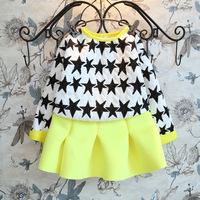 2014 High Fashion Formal Kids Girls Autumn Clothes Dress Set 2PC/Set Long Sleeve Pullover Sweater+Fluorescent Yellow Skirt