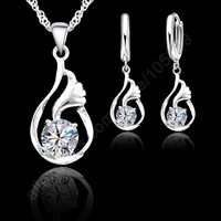 2014 Top Sell CZ Silver Jewelry Sets 925 Sterling Silver Swiss Cubic Zircon Pierced Hoop Earrings Necklace Sets For Women Gifts