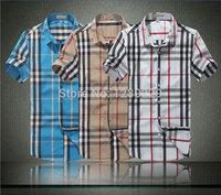 Wholesale&Retail Men's Burb Plaid Fashion Short Shirts Hot Summer Manly 100% Cotton Casual Workout Shirts Cheap Sale