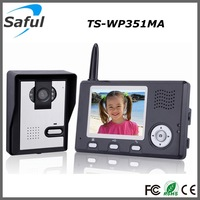 3.5'' Digital wireless color apartment video door phone intercom system with solar charger for IR night vision camera