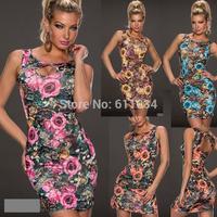 4 Colors 2014 New Summer Autumn Sexy Print Dress Fashion Women Tank Flowers Vintage Floral Printed Flower Clubwear Dresses