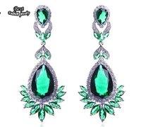 Green Rhinestone Crystal Zircon Dangle Earring Women Fine Jewelry ZC035ER