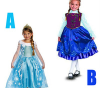 Frozen Elsa Anna Snow Adventure Romance Dresses For Girls Christmas Gift Free Shipping