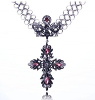 Fashion brand jewelry new arrive 2014 Europe and America vintage  zinc alloy rhinestone cross pendant&necklace for women