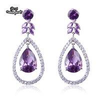 Fashion Crystal Zircon Water Drop Earring Girl's Zircon Dangle Earring Korean Style ZC037ER