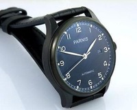 Details about 43mm Parnis PVD case black dial three hand automatic sea gull leather Watch P231