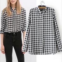 2014 New Women Ladies Casual Plaid Printed Long Sleeve Blouse Shirts ZA Brand Designer Brief Slim Blusas Camisas Feminina S001