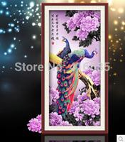 5D DIY diamond Painting crystal peacock animal flowers Cross Stitch Decorative diamond embroidery Round Rhinestone 127 * 64cm