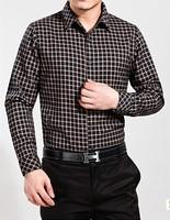 Spring male business man long-sleeve shirt 100% plaid cotton shirts spring autumn men's turn-down collar shirt