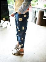 [retail] 2014 autumn new arrival baby girls fashion chrysanthemum floral jeans kids casual denim pants 315