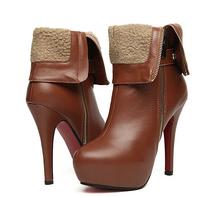 Winter women high stiletto heel shoes brand design PU leather side zipper Martin boots ladies medium platform motorcycle boots