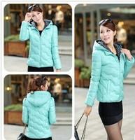 2014 New Fashion Ladies Down Short Design Coat Winter Cotton-padded Jacket Women Slim Solid Zipper Outerwear 6 Colors L-XXL