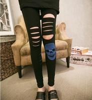 Hot!  2014 New Fashion Leggings Women's Sexy Ladies Stretch Stitching Yarn Thin Foot Leggings Skull Head Hole All-match Leggings