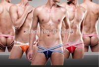 5 colors underwear men jockstrap fashion sexy men g-string boy briefs gay male pouch thongs sex bandage new 2014  under wear
