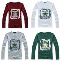 Time-limited Rushed Full Casual Cotton 2014 Hitz Korean Men's Long-sleeved T-shirt Men Printing Pentagram Tide Brand T Shirt