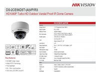 HDTVI,Hikvision Turbo Camera DS-2CE56D5T-AVPIR3,HD1080P,Vandal Proof IR Dome Camera,vari-focal,Up the Coax by coaxial cable IP66