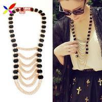 2014 christmas gift fashion elegant faux black stone gold tassel fringes statement false collar necklaces jewels for women