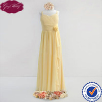 Goingwedding Sweetheart Neck A-line Floor Length Chiffon Yellow Pleated And Ruffled Details Flower Girl Dress HT025