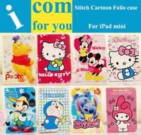 Cute Cartoon Stitch Doraemon Winnie pooh Folio Leather Case for iPad mini Retina 2