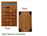 New High Quality 12 Digits 18 Keys LCD Display Bamboo Solar Calculator Free Shipping