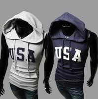 2014 new men's hooded sleeveless sweater letter USA Hoodie sleeve head man male Sweater Hoodie WY12