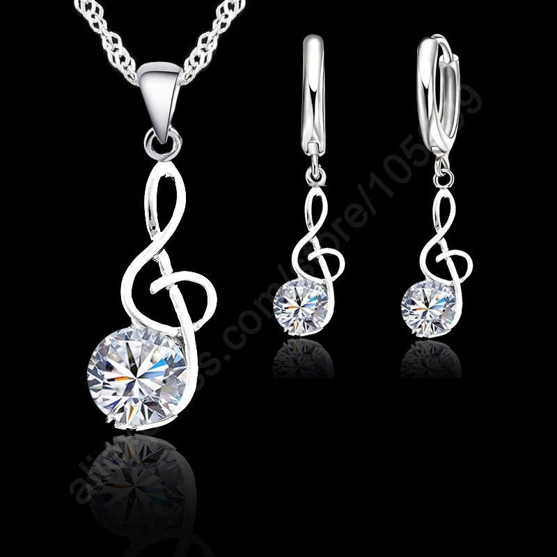 Musical Notes Jewelry Sets Real 925 Sterling Silver Swiss Cubic Zirconia Symbols Shape Pendant Necklaces Earrings Sets Gift(China (Mainland))