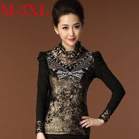 2014 Autumn Winter Plus size Women Tee Tops butterfly diamond Mesh gauze t-shirt Women Elegant lace shirt M-XXXL