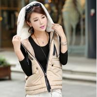 2014 latest autumn winter fashion casual vest women big yards thick hoodies zipper cardigans coat waistcoat free shipping Q171