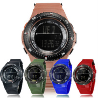 Luminous Versatile Waterproof LED Electronic Watch Casual Watch for Men PU Band Arcylic Glass 5 Colors
