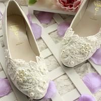 New arrival large size shoes elegant wedding flats ivory lace shoes bridal flat shoes