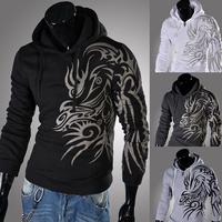 New Fashion Men's Printed Dragon Hoodies Sweatshirts Slim Hooded Collar Hoodies Outdoor Sweatshirts Clothing Male Sports Coat