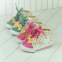 2014 baby girls winter flowers skid canvas sneakers  Foot length 13 ~ 15cm