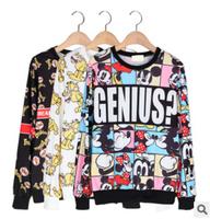 2014 new winter harajuku women's high quality  printed cartoon loose long-sleeved cotton hoodies sweatshirts free shipping