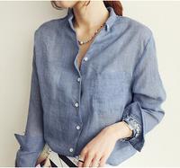2014 Autumn summer New style Women V-neck cotton Linen shirt blouse,  long-sleeved female office shirts tops    #C0908