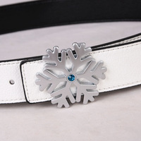 "Free shipping Hot-sale imported high-quality  Women Snowflake Buckle Reversible 1.4"" Belt fg51 BT-B472 re5t4"