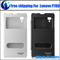 Lenovo P780 Case High Quality Smart-View Protective Leather Flip Case Cover For Lenovo P780 Smart Phone 2-colors Free Shipping