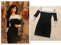2014 Autumn Winter Women's Dresses Slash Neck Slim Full Sleeve  Decals White Lace Ancient Rome Style Short Black Dress