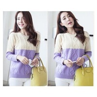 Spring new women retro spell color sweater Japanese small fresh diamond twist round neck sweater hedging