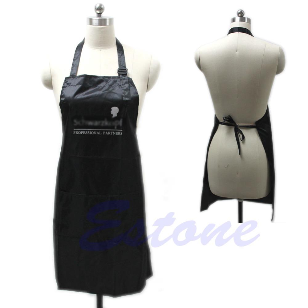 Black Adjustable Apron Bib Uniform With 2 Pockets Hairdresser Kit Salon Hair Tool(China (Mainland))