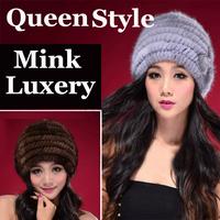 2014 New Genuine Mink Fur Hat Cap Real Knit Mink Fur Hat  Winter Women Headgear Hot Sale TPHM0001