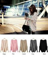 Free shipping New Fashion 2015 Women Autumn Winter Cardigans  Black Beige  Pink Gray Camel  Loose  Shrugs Sweater