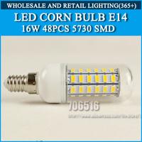 5PCS/lot High brightness led bulb lamp Lights Corn Bulb E14 16W 5730SMD 360 degrees warm white Cold white AC220V 230V 240V