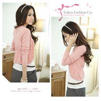 Free shipping New Fashion 2015 Women Autumn Winter Cardigans Black Pink White Gray Loose  Shrugs  Sweater