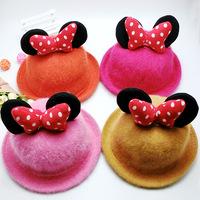 2014 new bow curling ears hat bowler hat rabbit fur hat Children's hat