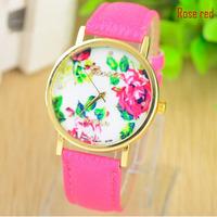 Fashion Geneva Watches Platinum Women Quartz Watch Daisy Flower Watch Clock PU Leather Dress Watch wristwatches